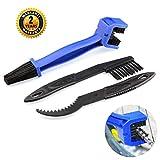 BrightBlue Set di spazzole per Pulire la Catena del Motociclo della Bici, Kit di spazzole per la Pulizia di Manutenzione degli Ingranaggi della Catena della Bicicletta