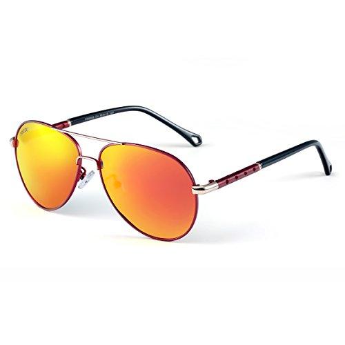 FEIDU Herren Sonnenbrille rot rot