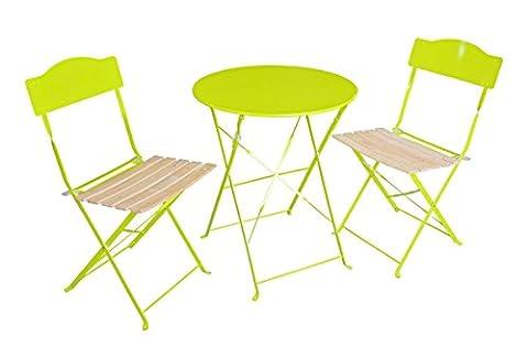 Ensemble 3 pièces pour terrasse : 1 table ronde + 2 chaises - Style bsitrot - Coloris Vert Granny