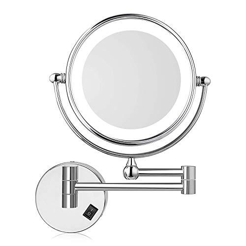 Amzdeal Espejo de Aumento de Pared, Espejo tocador, con luz LED, 7X Aumento, Doble Cara...