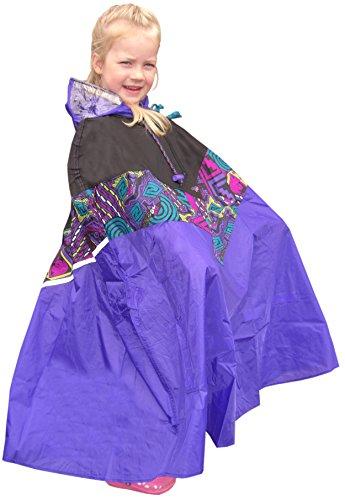 Nylon-Regenpelerine für Kinder (schwarz-bunt-lila)