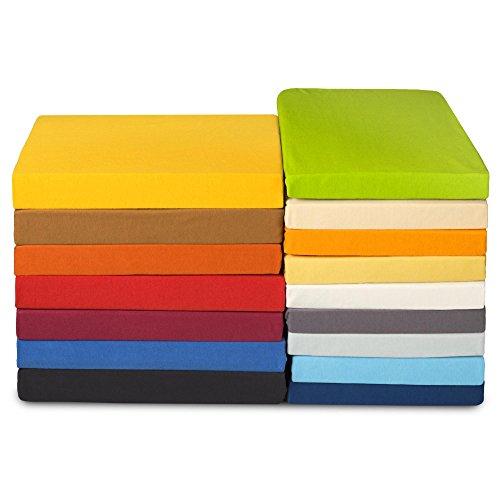 Preisvergleich Produktbild Jersey Spannbettlaken 100% Mako-Baumwolle ca. 180g/m² | viele Farben, viele Größen | Spannbetttuch Serie High-Line 180 x 200 cm | CelinaTex 0001117 hell-grün