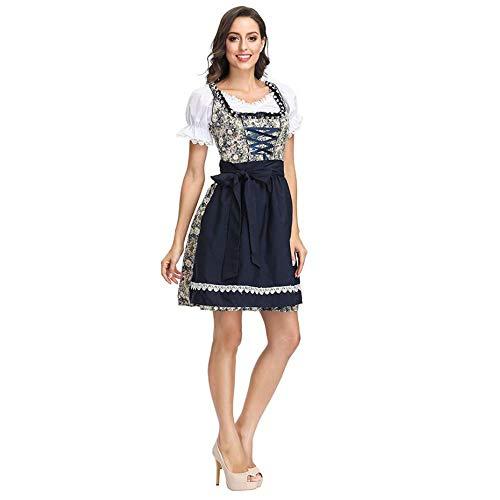 Kostüm Oktoberfest Irland - LaLaLa Frauen Oktoberfest Kostüm Bier Festival Kostüm, Deutsch München Kleid Weißes Mittelarm Top Mit Weste Schnürkleid,XL