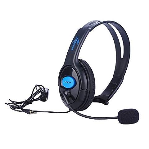 PS4Wired Einseitige Headset, koiiko® Mono 3,5mm Online Live Gaming Chat verstellbar Unilateral Wired Kopfhörer mit Mikrofon & Lautstärkeregler für Sony Playstation 4PS4Controller