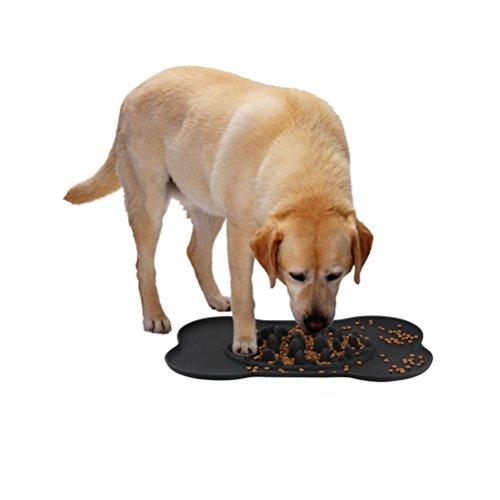 KAIHONG Mascota Comida Lenta, Perros Tazón Plato de Comida para Mascotas con Alfombra Antideslizante (Negro)