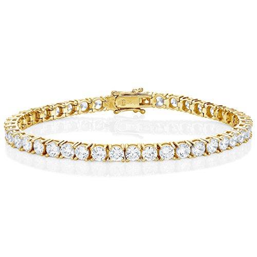 Diamond Treats Tennis Armband vergolded, und mit 4mm Cubic Zirconia besetzt. Ewigkeit Armband für Damen Frauen Mädchen aus 925 Sterling Silber. Perfekter Schmuck für Damen in Form Einer Armkette.