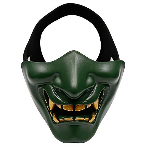 Happyshop Evil Smile Halbmaske Unisex Teufelsmaske Teufelsmaske Dämon Gruselmaske Festival Cosplay Kostüm Deko Maske für Halloween Party Film Requisite Maskerade, grün, 6.3