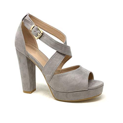 Angkorly - Damen Schuhe Sandalen Pumpe - High Heels - Plateauschuhe - Ehe Zeremonie - gekreuzte Riemen - Basic - Basic Blockabsatz high Heel 11.5 cm - Grau B-88 T 39