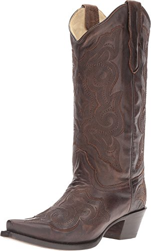 corral women's 13-inch burnished brown embroidery snip toe pull-on cowboy boots - sizes 5-12 b