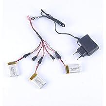 YouCute 3 pedazos 7.4V 500mAh baterías y cargador 1to5 para DFD F182 F183 JJRC H8C H8D RC accesorios de los recambios del quadcopter (3 baterías del PCS + cargador)