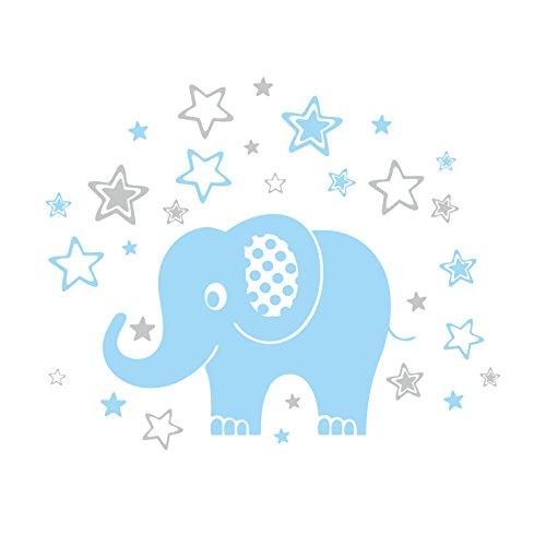 Wandtattoo süßer Elefant fürs Kinderzimmer, selbstklebender Aufkleber, hellblau, 80 x 65 cm, schöne Deko fürs Babyzimmer für Jungen und Mädchen