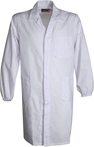 Camice 190 Da Lavoro Collo Aperto Chiusura a Bottoni Elastico ai polsi Tasche, Colore: Bianco, Taglia: L