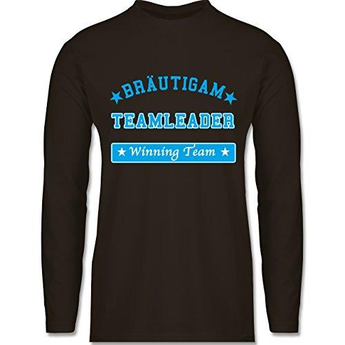 Shirtracer JGA Junggesellenabschied - Bräutigam Teamleader Winning Team - Herren Langarmshirt Braun