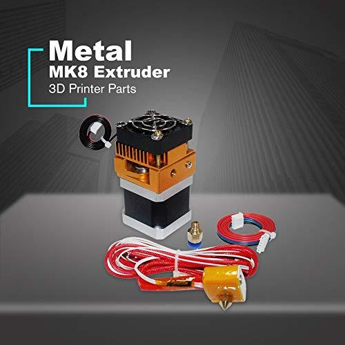 Yaoaomon Nema17 Schrittmotor mit MK8 Extruderkopf J-Kopf Hotend 0,4 mm Düsensatz Mehrfarbiger Langer Durchgang -