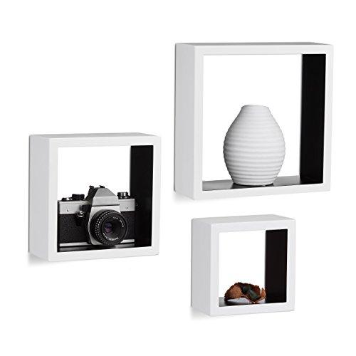 Relaxdays 10021791_362 mensole a muro quadrate, cubo, set da 3, legno mdf, varie misure, bianco/nero, 25 x 25 x 9 cm