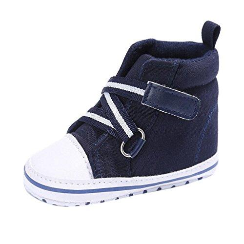 Baby Sneakers, OverDose Baby-Jungen-Mädchen-neugeborene Krippe-Baumwolltuch-weiche alleinige Schuh-Turnschuh-Schuhe Dunkelblau