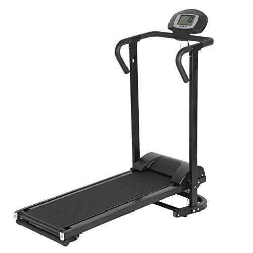 YKS Laufband Mechanisch Klappbar mit LCD Display, Steigung, Laufband Runner Heimtrainer Fitnessgerät, Schwarz (nicht Elektronisch Laufband)