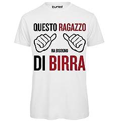 Idea Regalo - CHEMAGLIETTE! T-Shirt Divertente Uomo Maglietta con Frase Questo Ragazzo Ha Bisogno di Birra Tuned, Colore: Bianco, Taglia: L