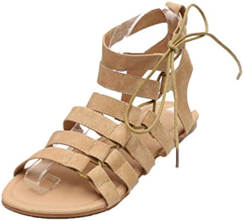Wawer Frauen Bohemia Sandalen Gladiator flache Peep-Toe Sandalen Schuhe römische Riemen Sandalen