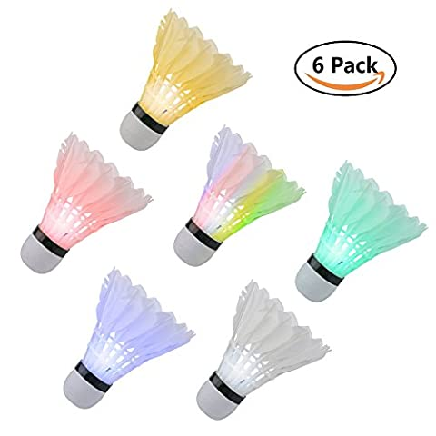 Led volant de badminton, Lot de 6volants en plumes d'éclairage coloré Bouncy Birdies pour Dark Night extérieur/intérieur activités de sport