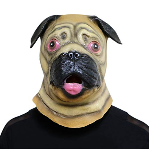 tex Kopf Masken, Kostüm Mops Hund Monste Grimasse Spukhaus Horror Zombie Lustige Scary Creepy Ghost Fancy Dress ()