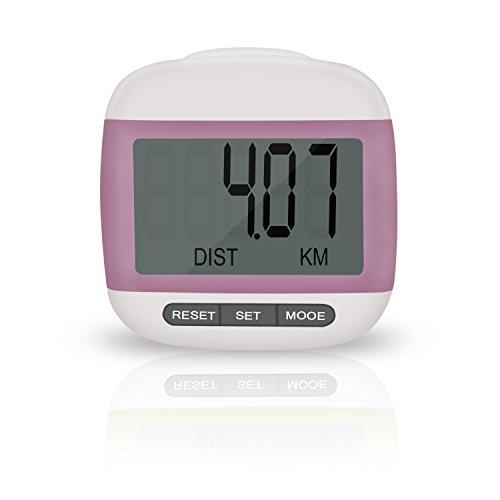Incutex Schrittzähler Kalorienmesser, Pedometer mit LCD Display, Stepcounter, Schrittmesser in rosa