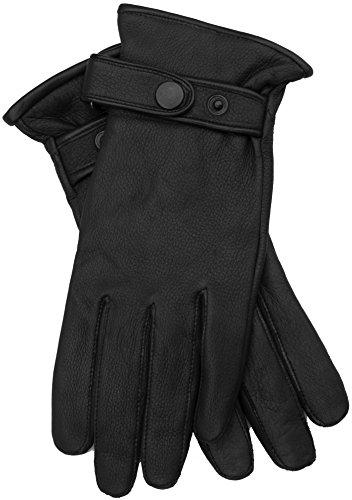 EEM Herren Leder Handschuhe PATRICK aus echtem Hirschleder mit hochwertigem Woll-Kaschmir-Futter, Luxus, Premium, handgenäht, schwarz S Echt-leder-handschuh, Handschuhe