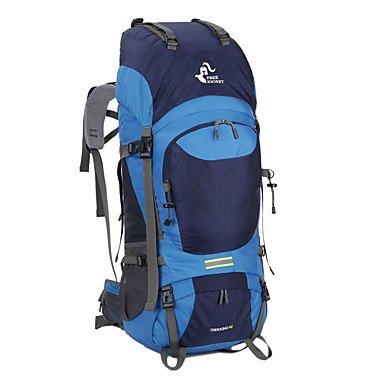 ZHUDJ 60 L Große Wandern Klettern Rucksäcke Für Männer Frauen Reisen Daypack Rucksack Outdoor Rucksack Wandern Camping Sport Jagd Wasserdichte Taschen Navy Blue