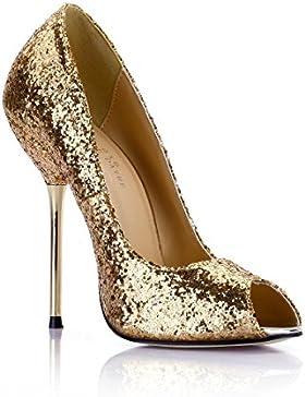 Best 4U® Scarpe da donna Paillettes a spillo 12,4 CM Tacco alto in metallo Peep Toe Primavera estate Scarpe dorate...
