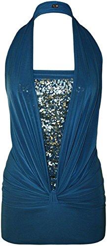 Mix lot nouveau femmes magnifique halter neck top paillettes robe party / club wear avant le noeud conception Taille 36-44 Bleu