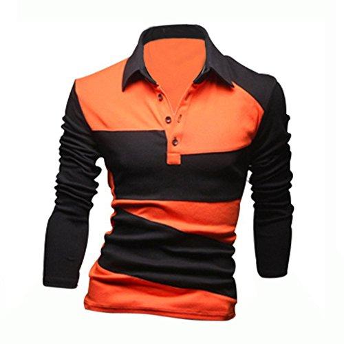 SODIAL (R) Nuovo Moda Polo & Maglietta Da Uomo Slim Fit Camicia casual manica lunga T-Shirt Top Arancione M