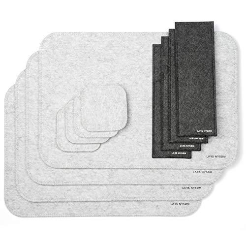 LARS NYSØM Tischset AMBIENCE I 12 Teiliges Filz Platzset bestehend aus 4 x Tischet, 4 x Glas Untersetzer und 4 x Bestecktasche I Abwischbare Tischunterlage für 4 Personen I Premium Platzdeckchen 4 X 12 Glas