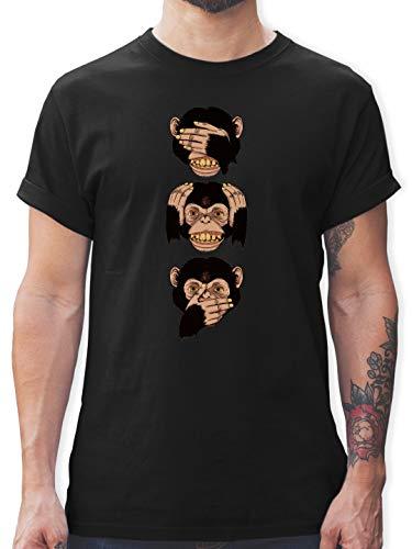 Statement Shirts - DREI Affen - Sanzaru - M - Schwarz - L190 - Herren T-Shirt und Männer Tshirt