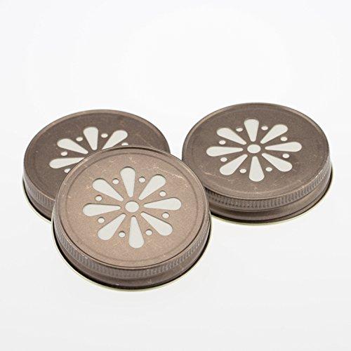 Daisy Lid Rustik Bronze für Regular Mouth Ball Mason Jars/ 3er Set (Mason Jar Lids-daisy)