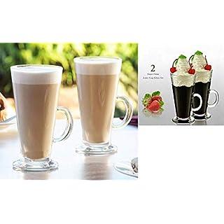 AQS INTERNATIONAL 2 Piece Entertain Tall Glass Coffee Tea Latte Cappuccino Cups Mugs Glasses Set 270ml