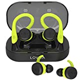 LOVIZA Bluetooth Headphones Wireless Earbuds Sport Earphones Bluetooth 5.0 Sweatproof 90H Playtime CVC 6.0 Noise Cancelling Headphones with Built-in Mic and Charging Case for Gym Running Workout