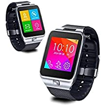 Indigi® swap2GSM wireless Bluetooth Smart Watch Phone MP3Spy Camera [at & T/T-Mobile] sbloccato. (Argento)