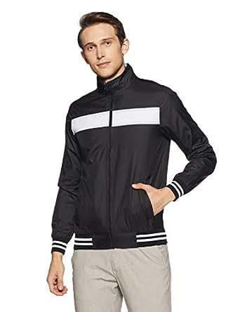 Allen Solly Men's Jacket (ASJKOBOPZ38751_Black with White_S)