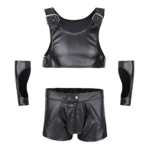 nner Kostüm Gladiator Kostüm erotisches Wetlook Outfit aus Oberteil, Boxershorts und Armschutz umfasst Schwarz XX-Large (Gladiator Halloween-outfit)