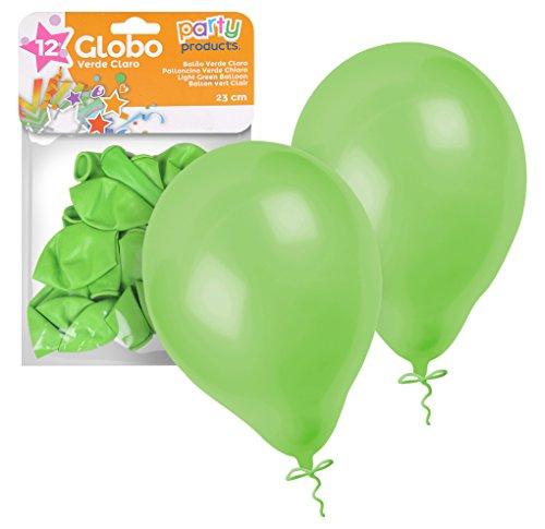 Party - Pack 12 globos, 23 cm, color verde (68393)