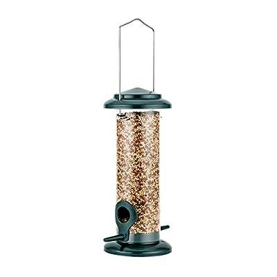 iBorn Bird Feeder Hanging Wild Bird Seed Feeder for Mix Seed Blends, Niger Seed Feeder, Sunflower Heart, Birdbath, Heavy Duty All Metal Anti-UV Finishing, Green 8 Inch from iBorn
