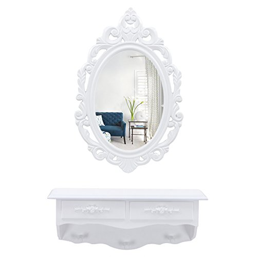 Songmics kleine Schminktisch 2 Schubladen Wandkonsole mit Spiegel, Haken Landhaus weiß RDT16W