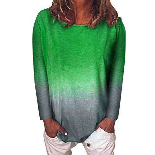 Innerternet Damen T Shirt Langarm Rundhals Blusen Beiläufig Farbverlauf Shirt Casual Frühling und Herbst Tops Lose Tees Elegant Oberteil Shirts -