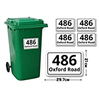 4 Set of A4(210 x 297 mm) Size Personalised Custom Diamond Wheelie Bin Stickers with Your House Number, Digit, Letter & Road Name,Waterproof Labels or Decals#PBN04 Stickers Limited