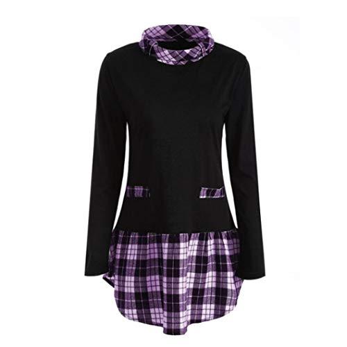 (IMJONO Oberteile Damen Hemden Button-Down Streifen Langarm Hemdbluse Casual und Schlank Blusen 11 Farbe S/M/L/XL/XXL(EU-38/CN-L,Lila))