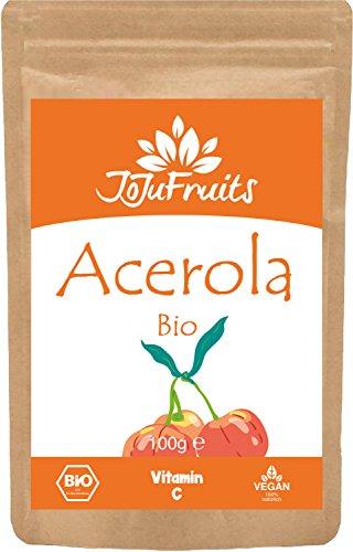 JoJu Fruits - Bio Acerola Pulver (100g) - Natürliches Vitamin C Pulver