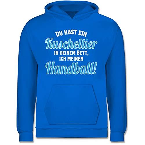 Shirtracer Handball WM 2019 Kinder - Du hast Dein Kuscheltier im Bett, ich Meinen Handball! - 152 (12/13 Jahre) - Himmelblau - JH001K - Kinder Hoodie
