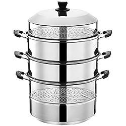 201 en acier inoxydable Steamer/soupe Pot 4 couches avec des ménages Steamer 30-40cm épaissie Convient for Cuisinière à gaz/Cuisinière à induction Convient for 6-14 personnes (Size : 40cm)