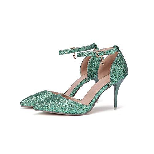 Scarpe da Donna Verdi Moda a Punta Scarpe da Donna con Tacco Alto in Pelle Verniciata, Verde, 34