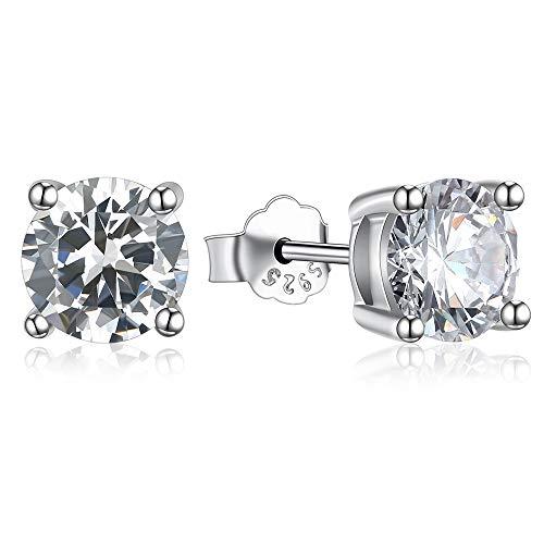 Gioielleria Gold Gala Orecchini Punto Luce in Argento 925% Rodiato con Zirconi Taglio Diamante Uomo Donna (8 mm)